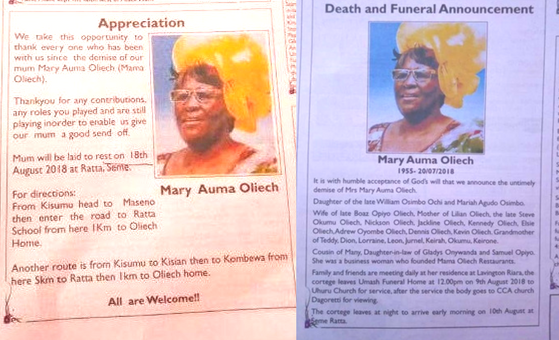 two conflicting obituatries for mama oliech family feud over burial family business consultants oumamugavoice